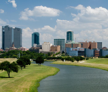 Beautiful downtown Fort Worth in USA