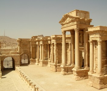 Theater at Palmyra ruins of the ancient caravan city of Palmyra in Tudmur in Syria