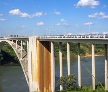 Friendship Bridge Connecting Foz do Iguacu, Brazil to Ciudad del Este in Paraguay