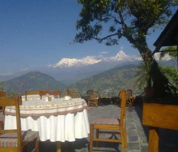 beautiful mountain from a shiny courtyard