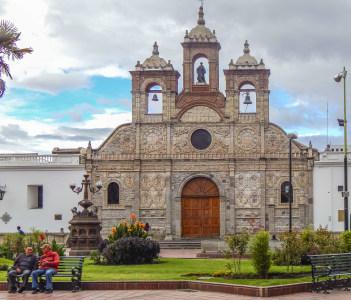 Baroque style church at Maldonado square located at historic center of Riobamba city in Ecuador