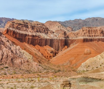 Colorful rock formations in the Quebrada de las Conchas near Cafayate Salta Province Argentina.