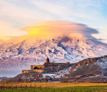 Mount Ararat in Armenia in Khor Virap Monastery