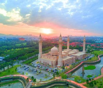 Aerial view of Tengku Ampuan Jemaah Mosque, Shah Alam Malaysia