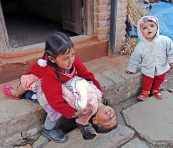 Newar Children paying in Bungmati village