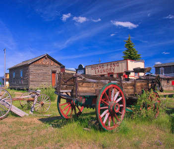Horse drawn wagons at the World Museum Of Mining Butte Montana