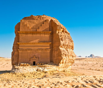 The archaeological site with the Nabatean tomb of the 1st century in Madain Saleh