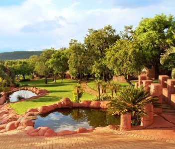 Beautiful African landscape of a lodge with a nice garden and lakes, Centurion, South Africa