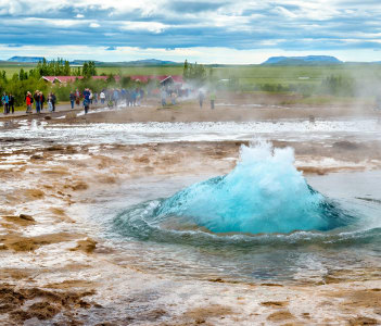 View of Strokkur geyser about to erupt - Iceland
