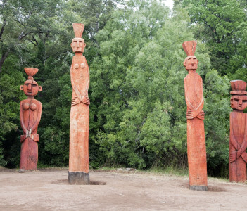 Group of Mapuchean Totems at a park in Temuco, Chile