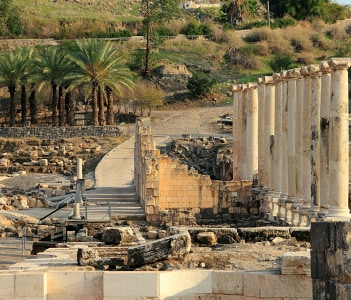 Ancient city of Beit She'an in the Jordan Valley Israel