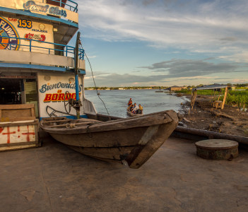 A passenger ferry and cargo on the Amazon river in Santa Rosa Peru