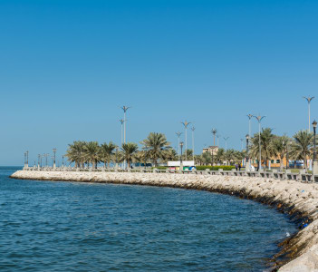 Blue sea and green date palm trees in the Corniche park in Dammam Saudi Arabia