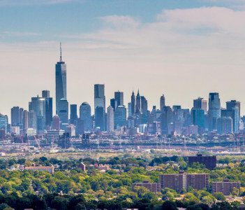 View on the skyline of Lower Manhattan from Eagle Rock Park near East Orange