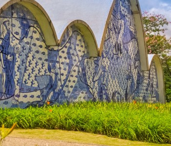 An exterior view detail of the church of Sao Francisco de Assis on December 23 2015 in Belo Horizonte Brazil. Designed by Oscar Niemeyer is known as the Pampulha Church.