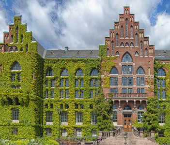 The ivy covered university library in the Swedish city of Lund.