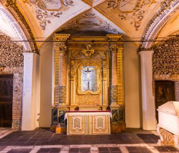Chapel of the Bones in Evora with human bones and skulls in the wall