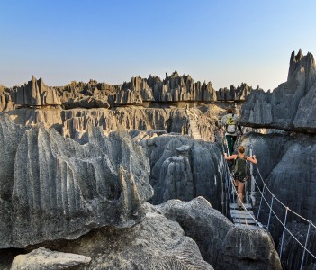 Tourist on an excursion in the unique limestone landscape at the Tsingy de Bemaraha Strict Nature Reserve in Madagascar