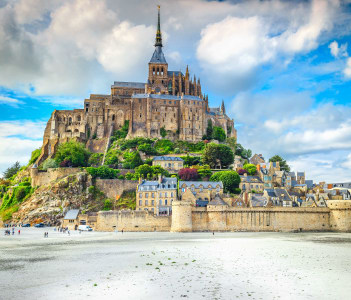 Beautiful Mont Saint Michel cathedral on the island Normandy Northern France Europe
