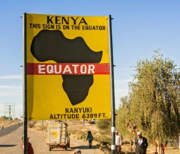 Sign posted at Equator in Nanyuki in Kenya