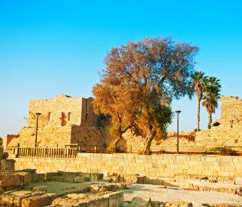 Ruined of ancient city Caesarea in Israel