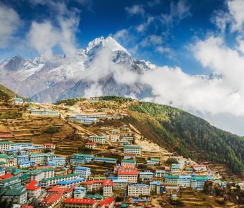Namche bazar and mount Thamserku in Khumbu valley Sagarmatha national park Nepal