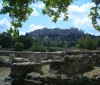 Kerameikos, the largest cemetery of the ancient city, with impressive tomb sculptures and stelae.