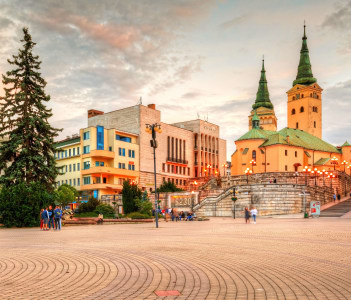 Main square in the city of Zilina in central Slovakia