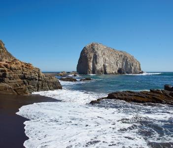 Large rocks on the coast of Chile near the city of Constitucion