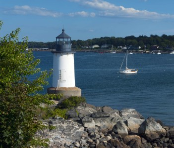 Salem Harbor lighthouse at Fort Pickering on Winter Island in Massachusetts