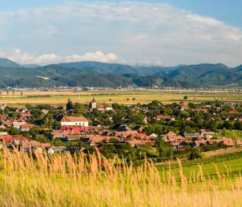 Vulcan village and Bucegi mountain in Transylvania Romania
