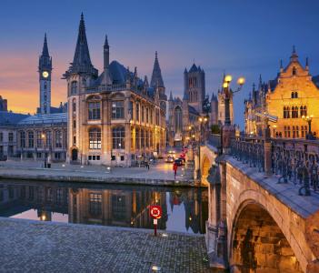 Image of Ghent, Belgium during Twilight Blue Hour