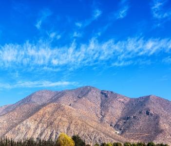Dry desert hills in the Elqui Valley near La Serena, Chile
