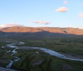 Braided stream in the valley of Uliastai city Zavkhan Mongolia