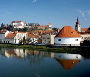 Ptuj Castle in Ptuj Slovenia, situated on a hill alongside the river Drava overlooking the town
