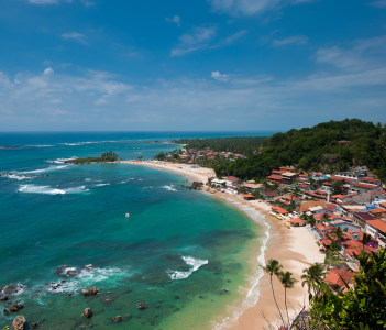 View of the first second and third beach from the lighthouse in Morro de Sao Paulo Brazil