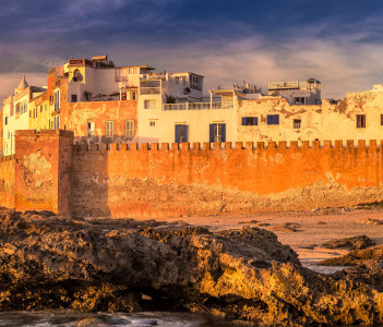 Essaouira old city walls in Morocco. Shot at sunset