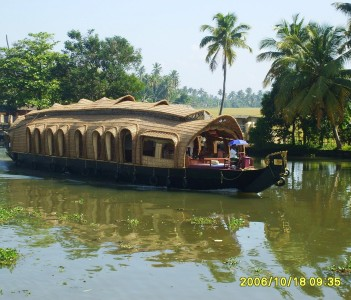 A houseboat in backwaters.