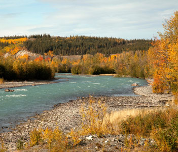 Klutina River at Copper Centre in Autumn Richardson Highway Alaska