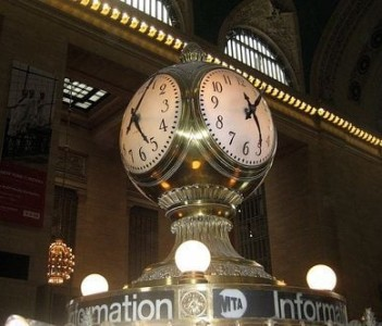 Clock on top of Main Information Booth