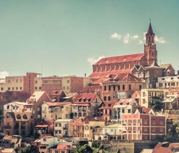 Homes of Antananarivo, the capital city of the island of Madagascar