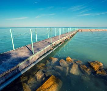 Pier on the Lake Balaton in the morning, Hungary