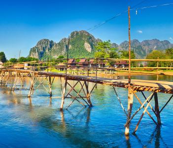 Beautiful view of a bamboo bridge, Vang Vieng, Laos