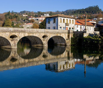 Ancient bridge and village of Arcos de Valdevez in Portugal