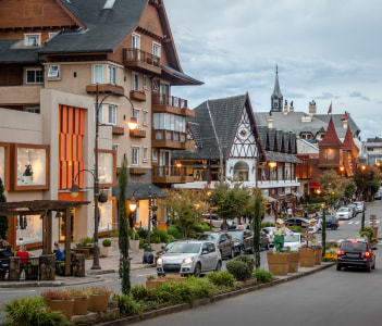 Street and architecture of Gramado city in Brazil