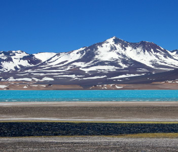 Laguna Verde near mountain pass San Francisco and Nevado Ojos Del Salado Atacama Chile South America