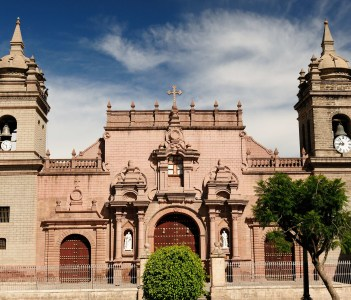 Peru View of the facade of the cathedral in Ayacucho.