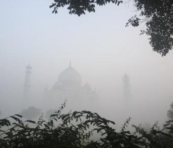 Foggy mystic Sunrise at the Taj Mahal