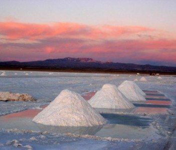 Sunset in the Uyuni salt field