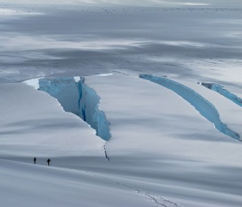 Navigating around crevasses to climb Mt Cornu